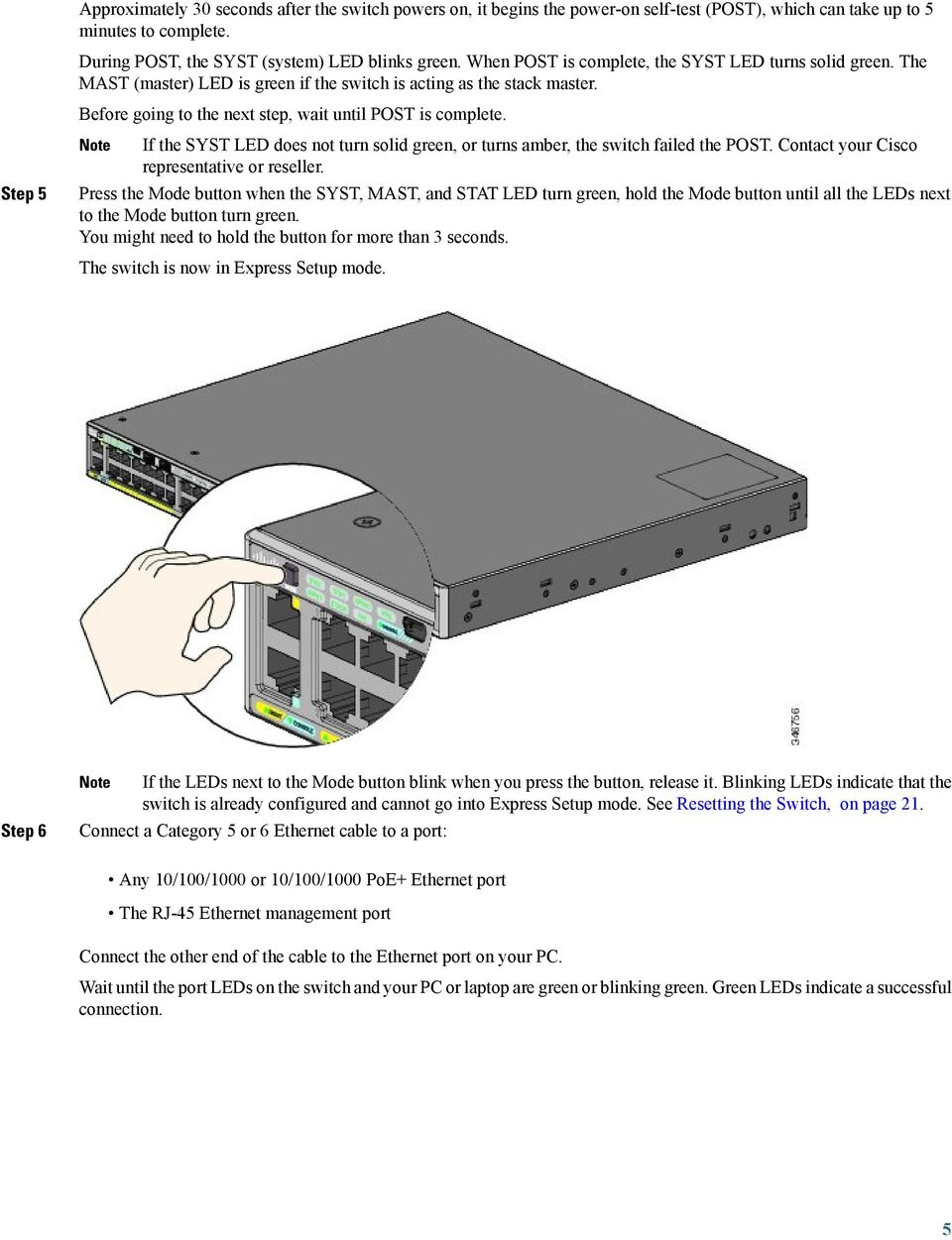 Getting Started Guide For The Catalyst 2960 X And Xr Switches Pdf Cisco Ethernet Cable Wiring Diagram Step 5 If Syst Led Does Not Turn Solid Green Or Turns Amber