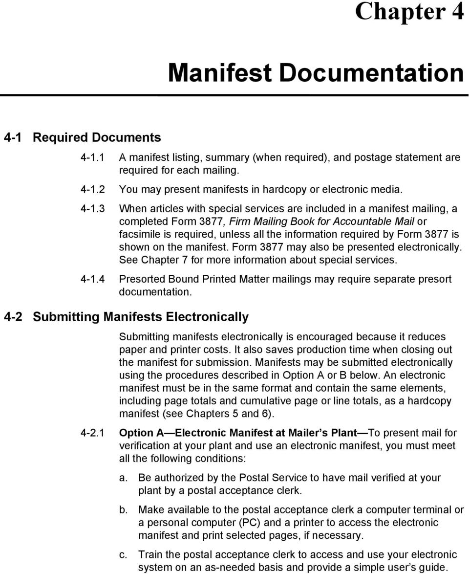 Guide To The Manifest Mailing System Pdf