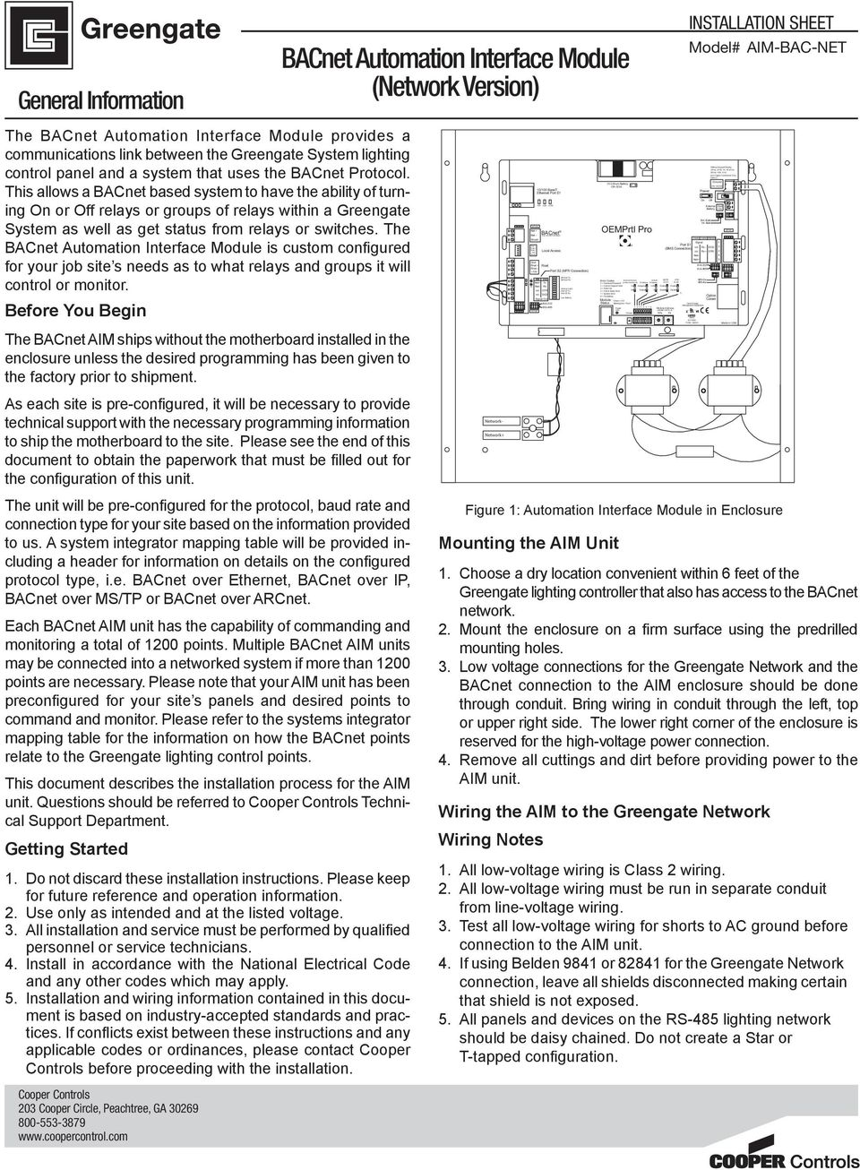 Bacnet Automation Interface Module Network Version Pdf Wiring Format Open Energy Management Equipment R Fo E Type Wire Without Keypad Display Vac