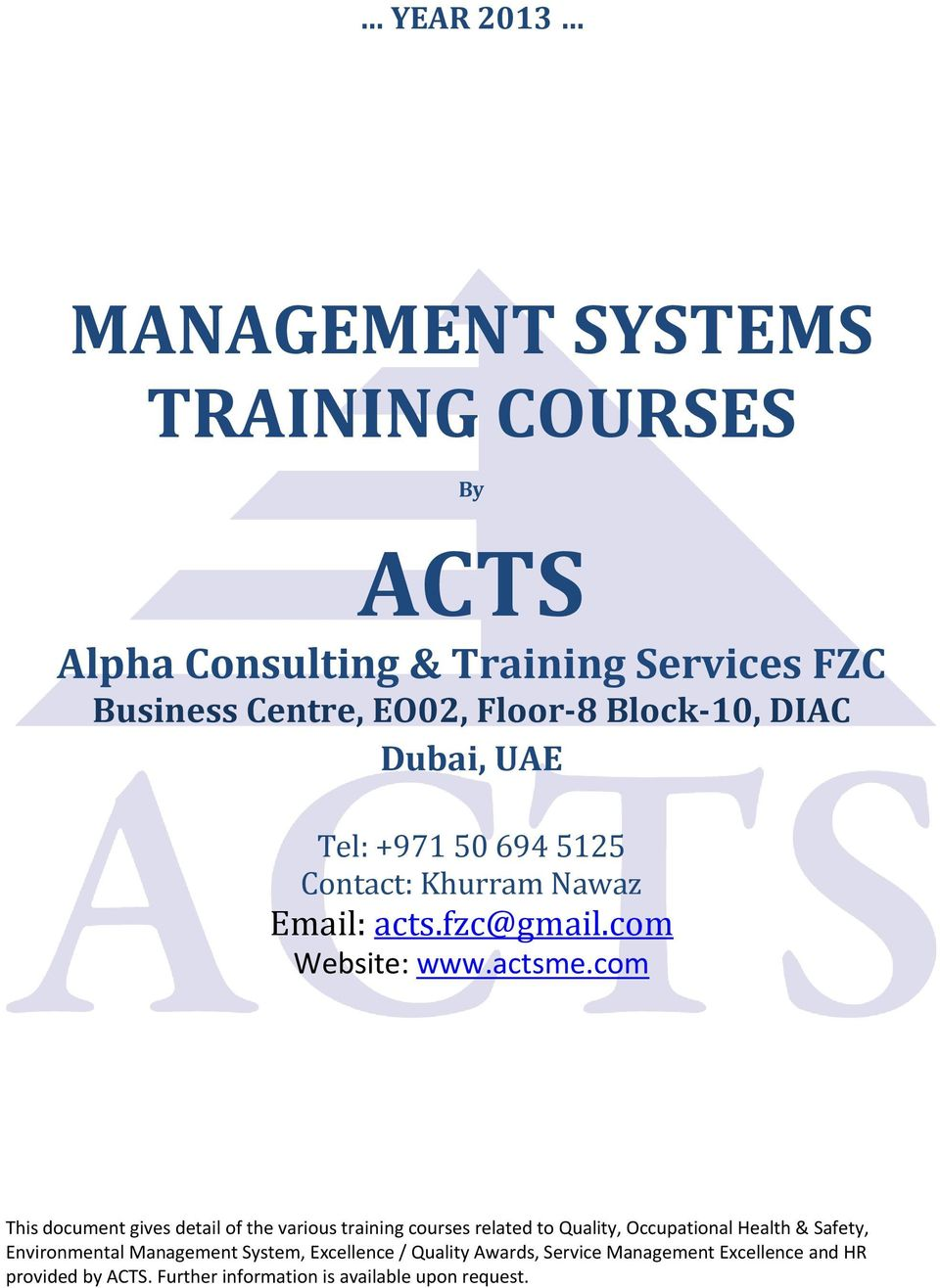 training under iso and qs certification hrm