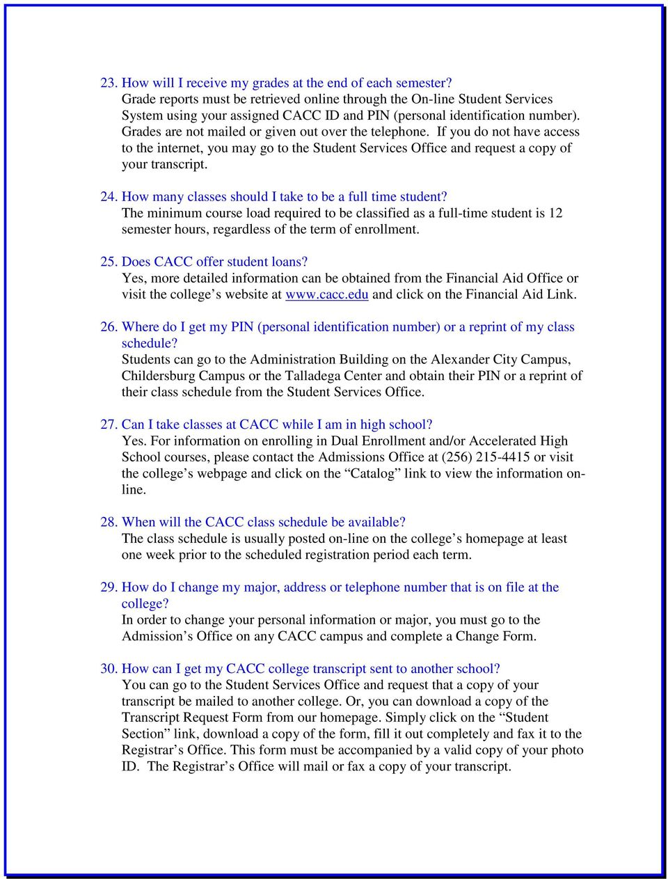 Central Alabama Community College Frequently Asked Questions Pdf