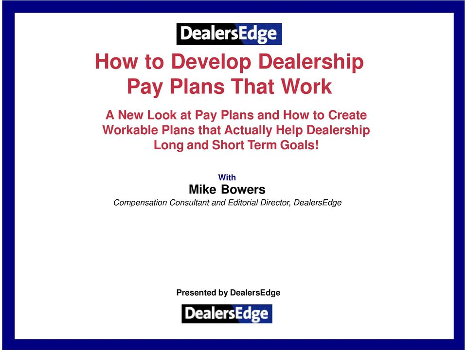 How to Develop Dealership Pay Plans That Work - PDF
