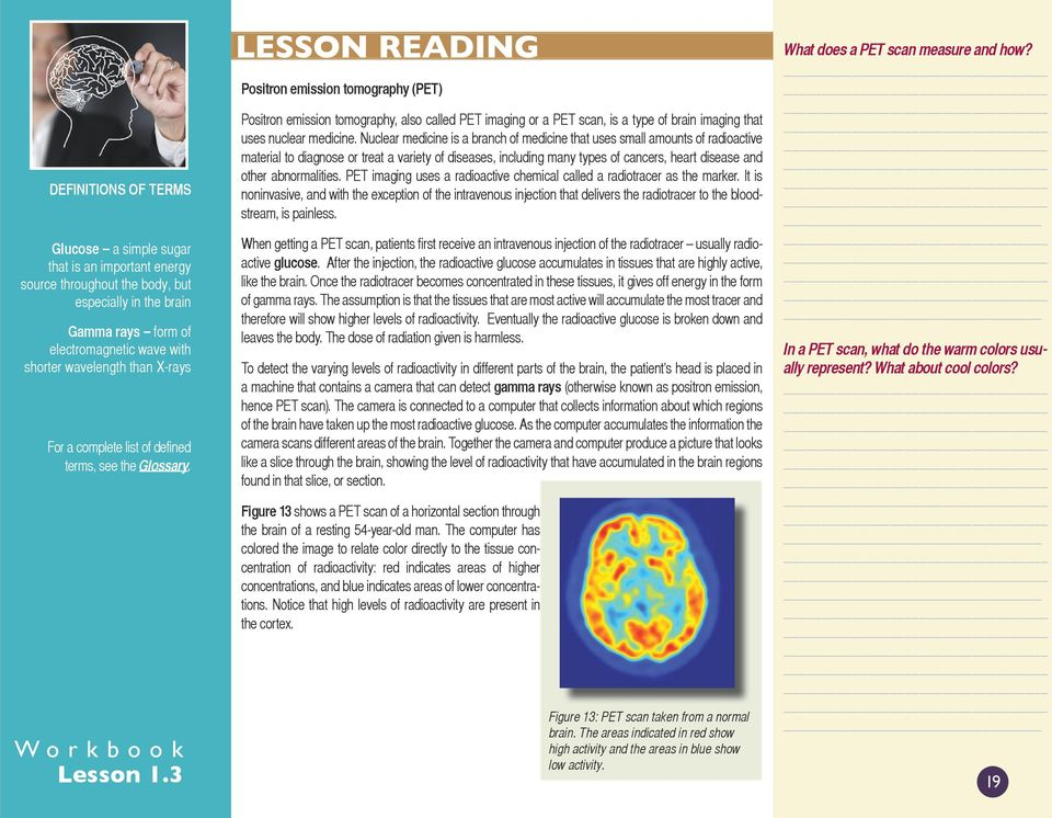 LESSON READING Positron emission tomography (PET) Positron emission tomography, also called PET imaging or a PET scan, is a type of brain imaging that uses nuclear medicine.