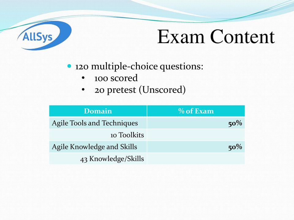 Exam Agile Tools and Techniques 50% 10