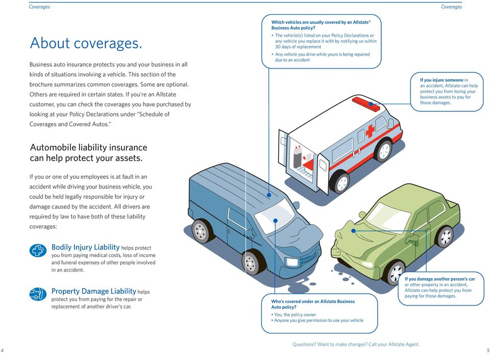 Which vehicles are usually covered by an Allstate Business Auto policy?