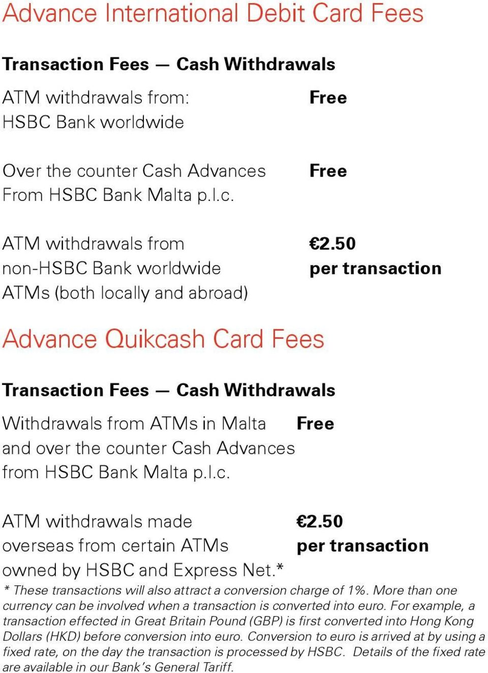HSBC Advance Credit Card, Advance International Debit Card and