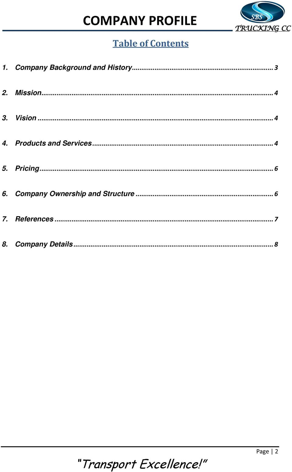 A Road Freight Transport and Courier Company Company Profile - PDF
