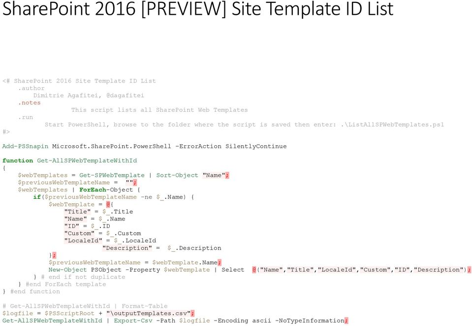 SharePoint 2016 [PREVIEW] Site Template ID List - PDF