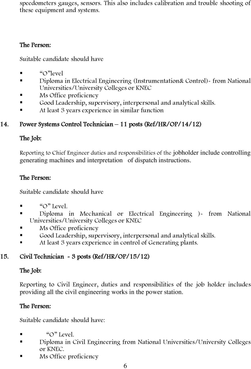 Job description of the chief engineer: a document that includes many duties