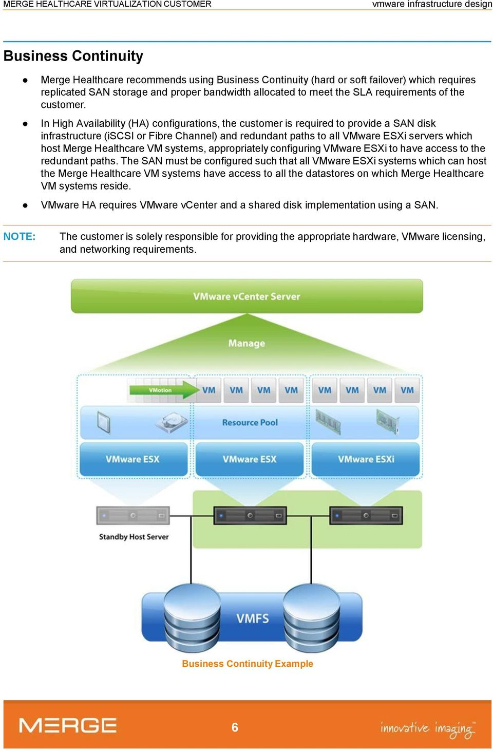 In High Availability (HA) configurations, the customer is required to provide a SAN disk infrastructure (iscsi or Fibre Channel) and redundant paths to all VMware ESXi servers which host Merge