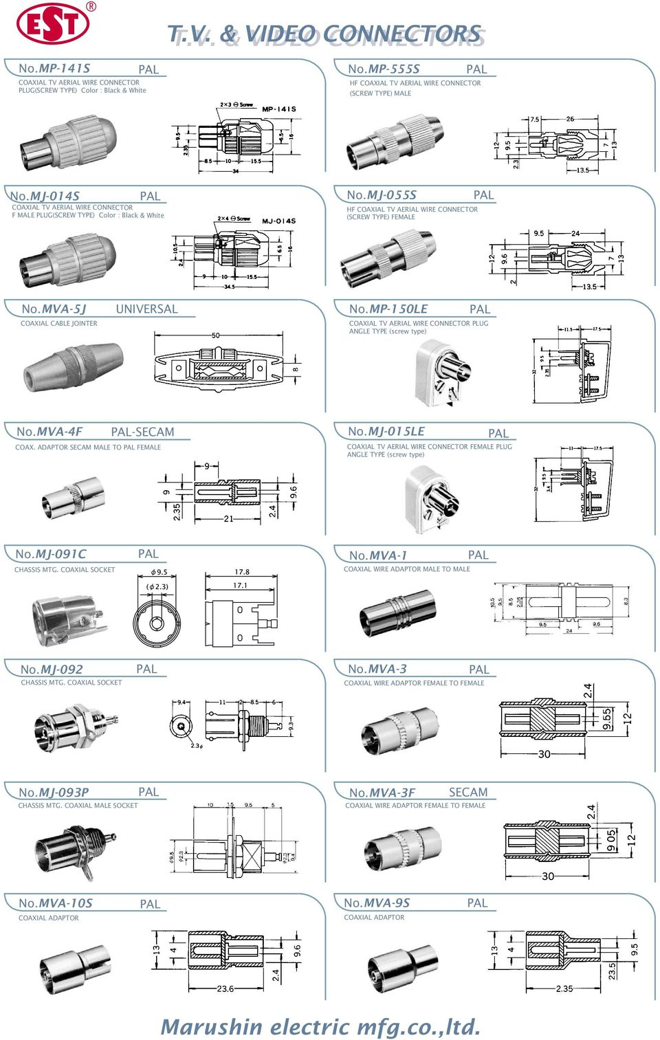 Tv Video Connectors Pdf Coaxial Socket Wiring Diagram Mj 015le Female Plug Angle Type Screw Nomj 091c