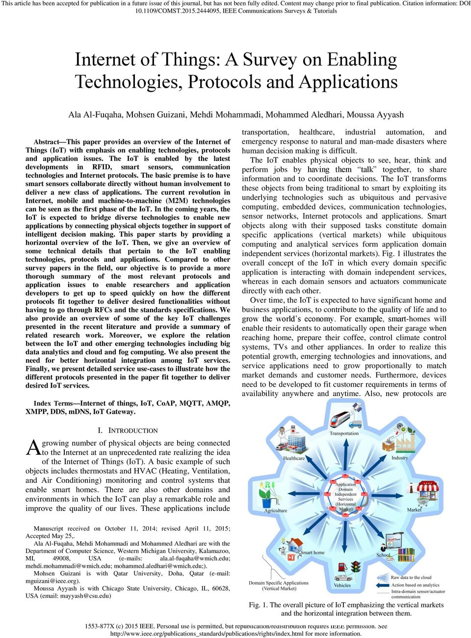 Internet of Things: A Survey on Enabling Technologies, Protocols and