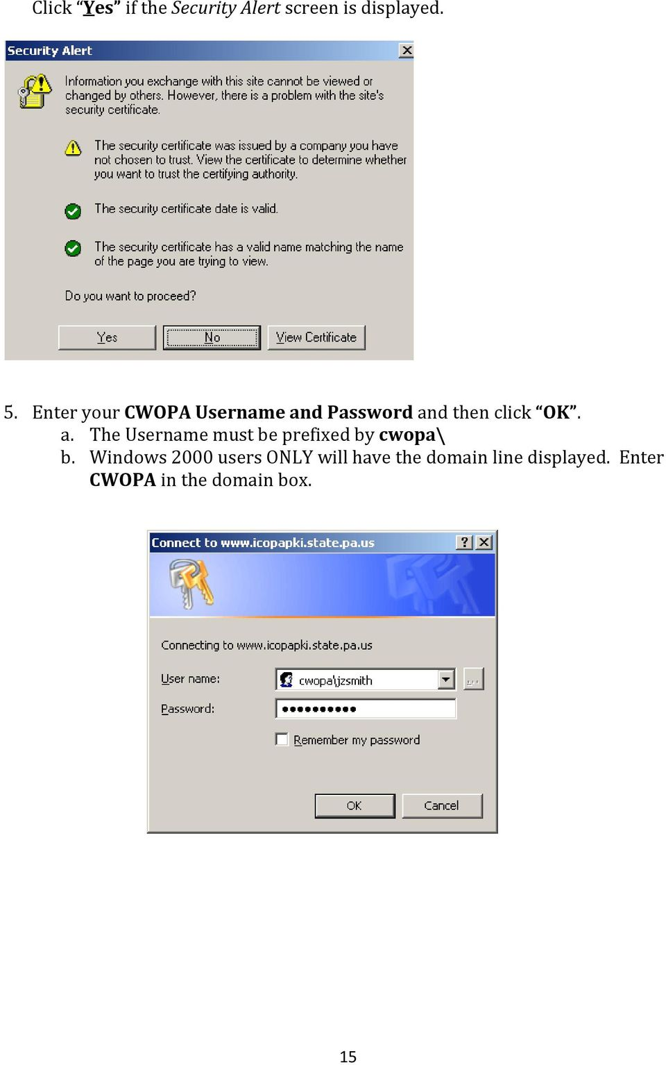 d Password and then click OK. a. The Username must be prefixed by cwopa\ b.