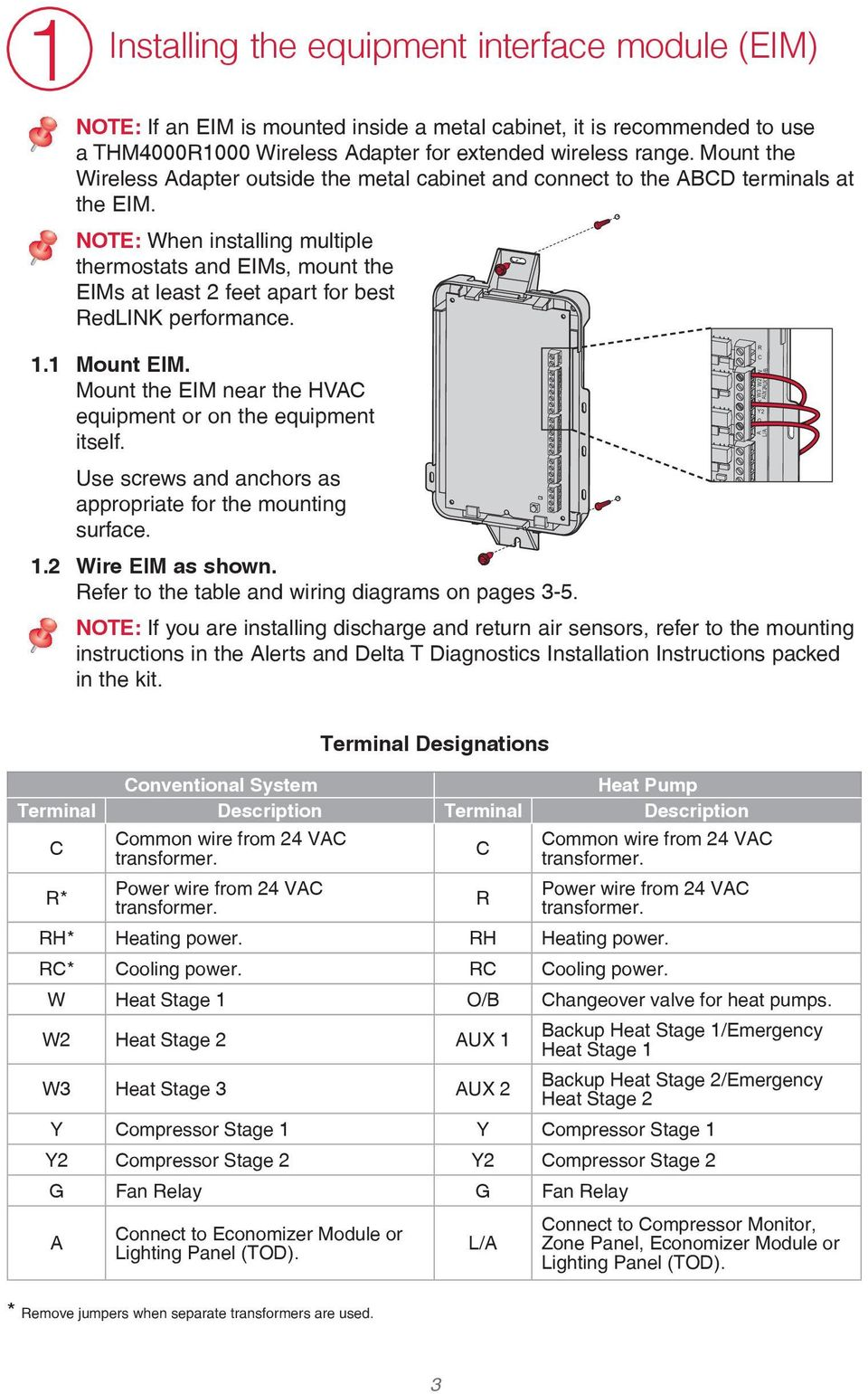 Installation Guide Prestige Iaq With Equipment Interface Module Pane Heat Pump Thermostat Wiring Diagram Note When Installing Multiple Thermostats And Eims Mount The At Least 2 Feet 4 Terminal Designations Onventional System