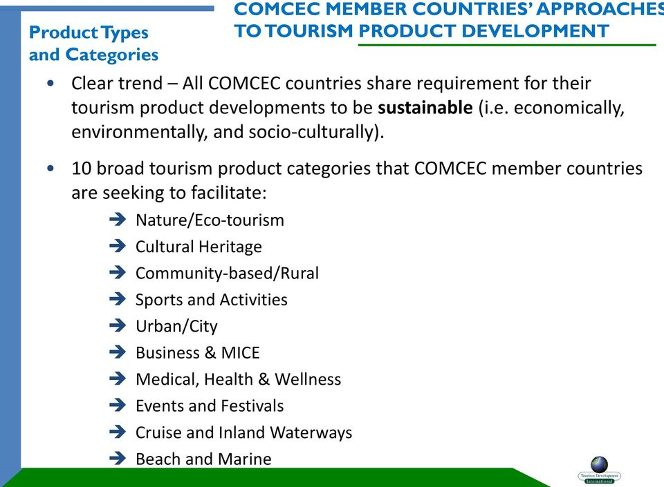 10 broad tourism product categories that COMCEC member countries are seeking to facilitate: Nature/Eco-tourism Cultural Heritage