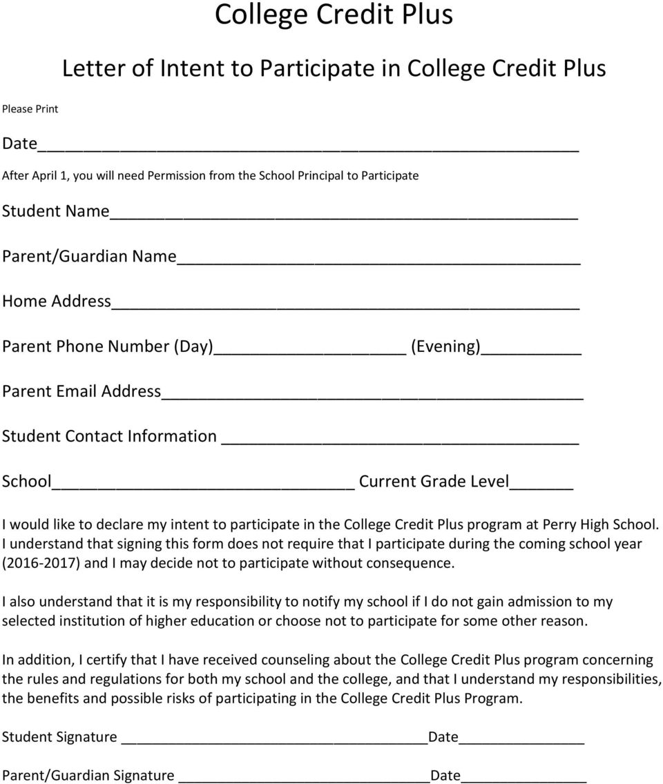 the College Credit Plus program at Perry.