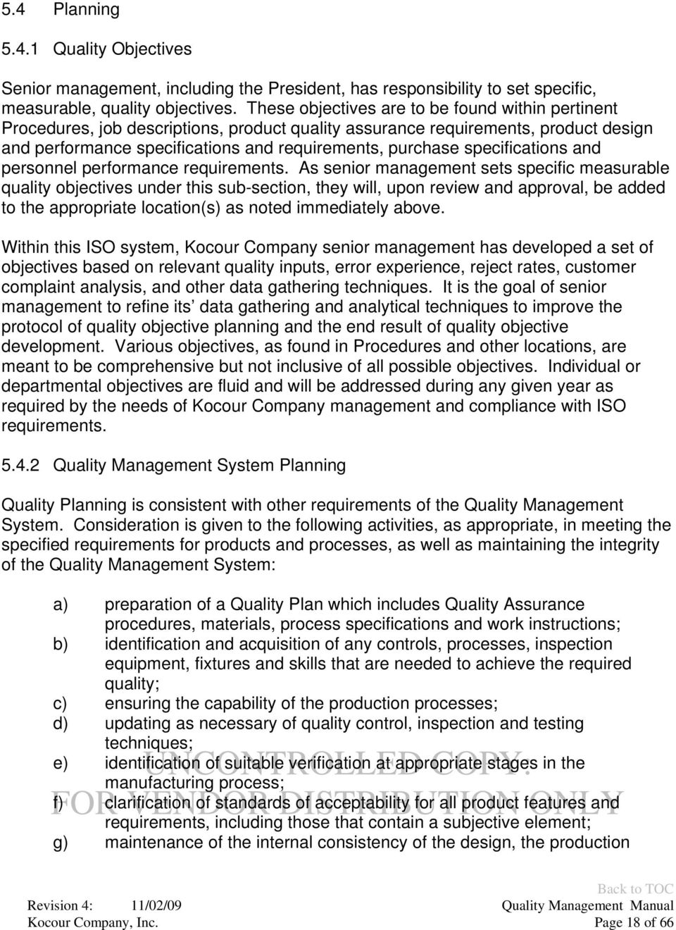 specifications and personnel performance requirements.