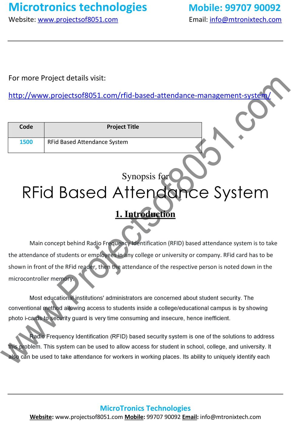 Microtronics Technologies Mobile Pdf Based Industrial Device Controlling Using Bluetooth Rfid Card Has To Be Shown In Front Of The Reader Then Attendance
