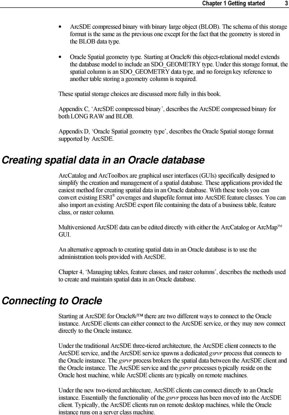 ArcSDE Configuration and Tuning Guide for Oracle  ArcGIS PDF