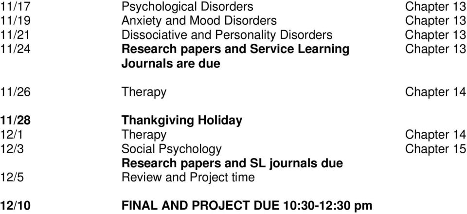 due 11/26 Therapy Chapter 14 11/28 Thankgiving Holiday 12/1 Therapy Chapter 14 12/3 Social Psychology