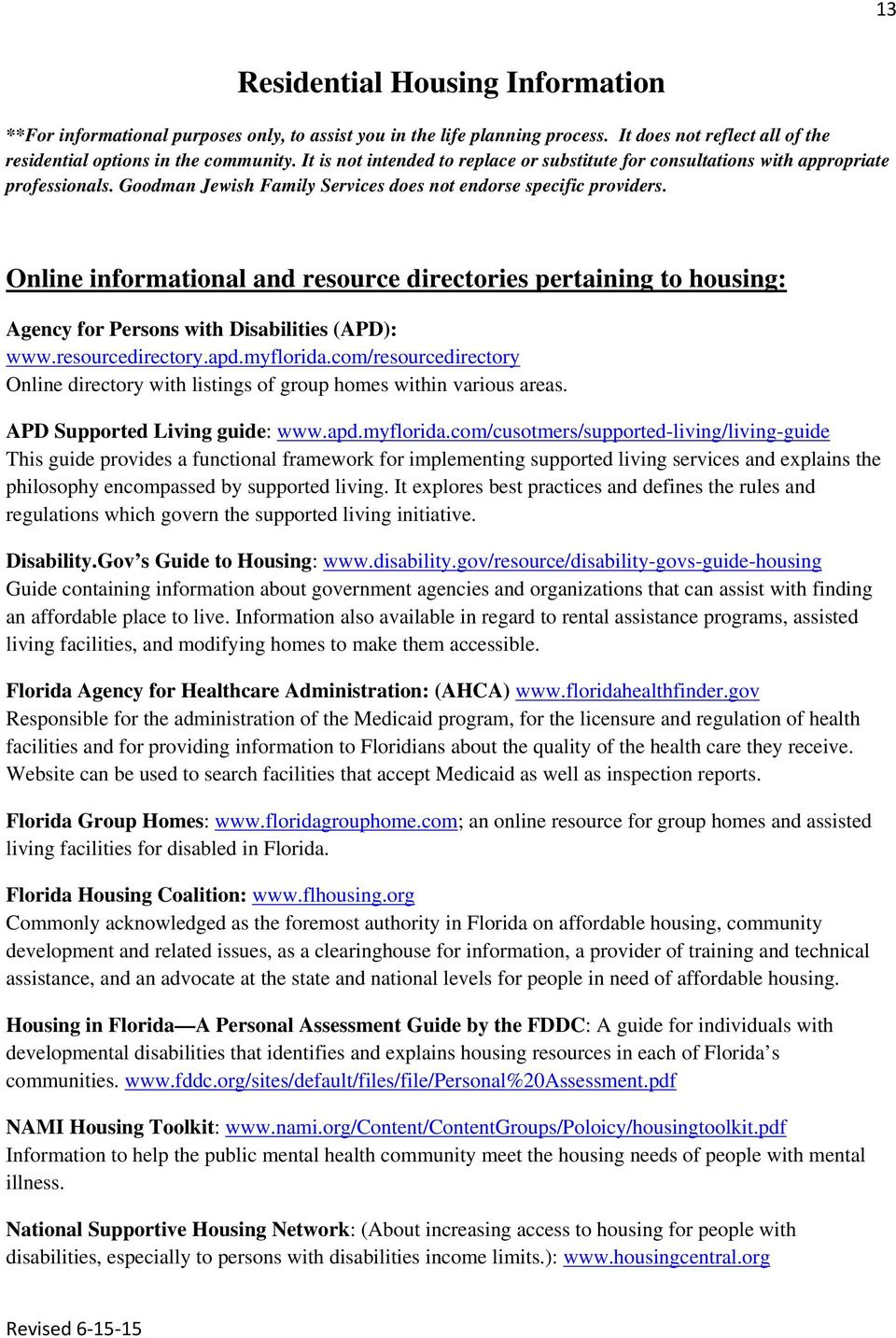 Special Needs Resource List Of Agencies Providers Pdf