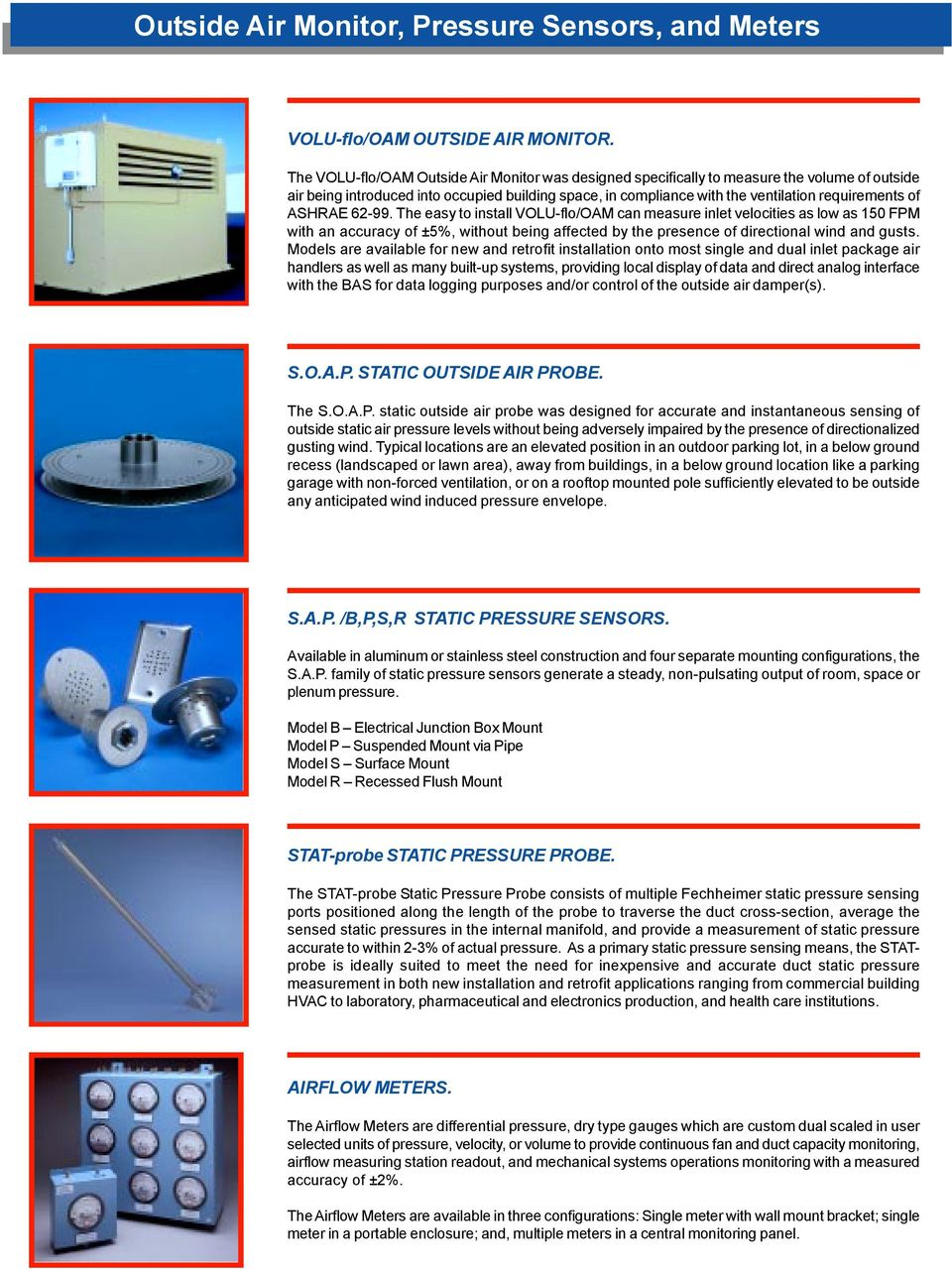 SUMMARY of PRODUCTS  HVAC Systems Control Airflow, Space, & Building
