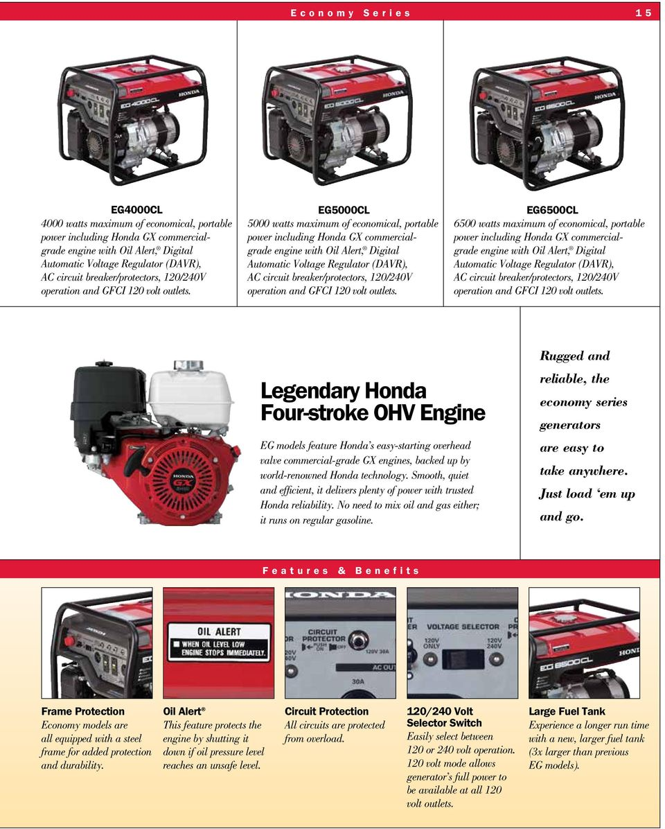 Honda Generators 2015 2016 Catalog Pdf 12a Laptop Ac Power Adapters Of 144w With Short Circuit Protection Eg5000cl 5000 Watts Maximum Economical Portable Including Gx Commercialgrade Engine Oil