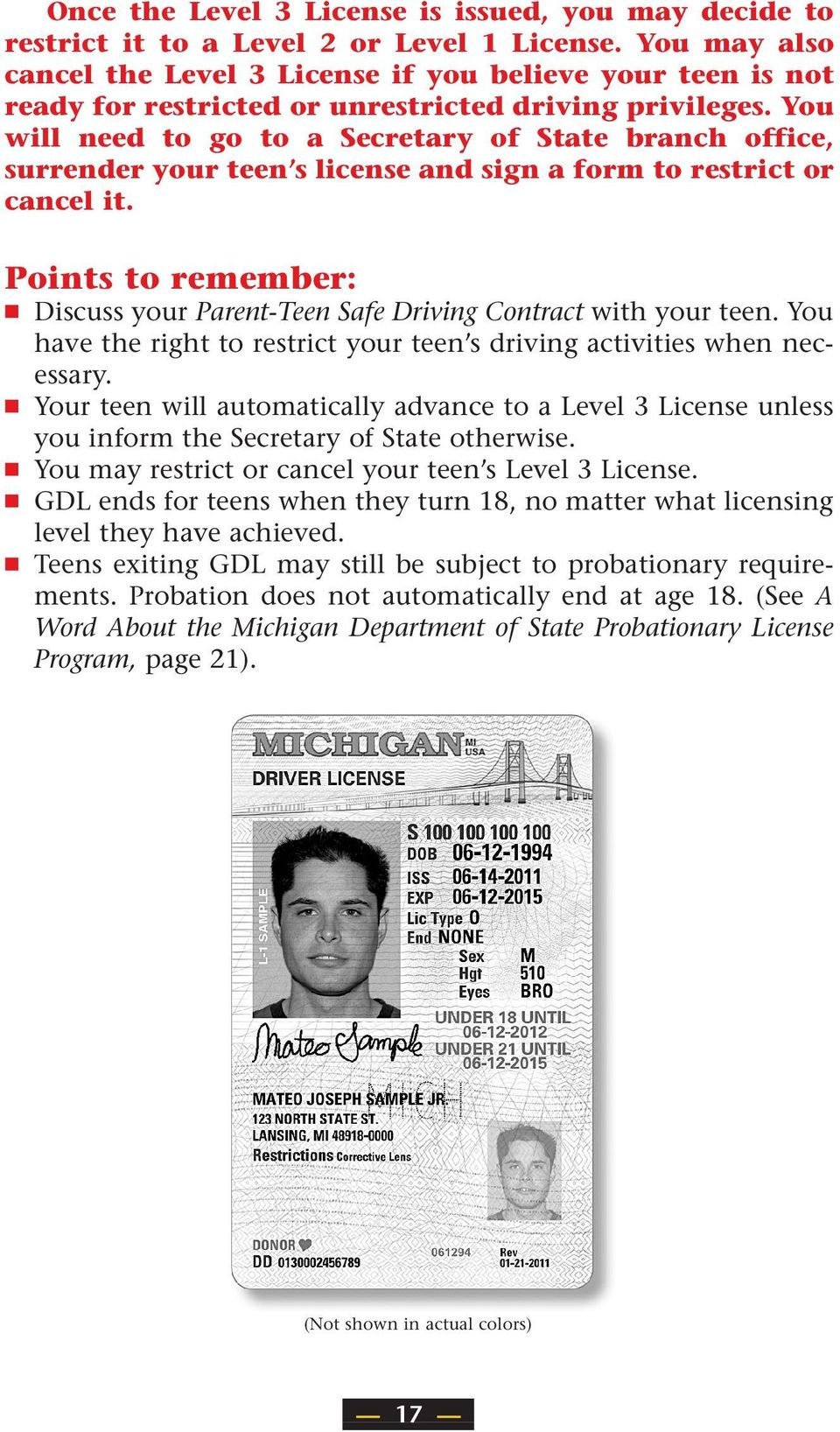Michigan s Graduated Driver Licensing: A GUIDE FOR PARENTS - PDF