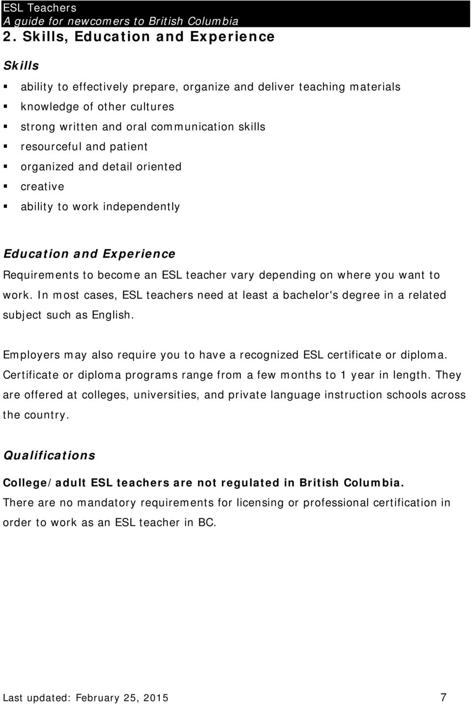 Esl Teachers A Guide For Newcomers To British Columbia Pdf