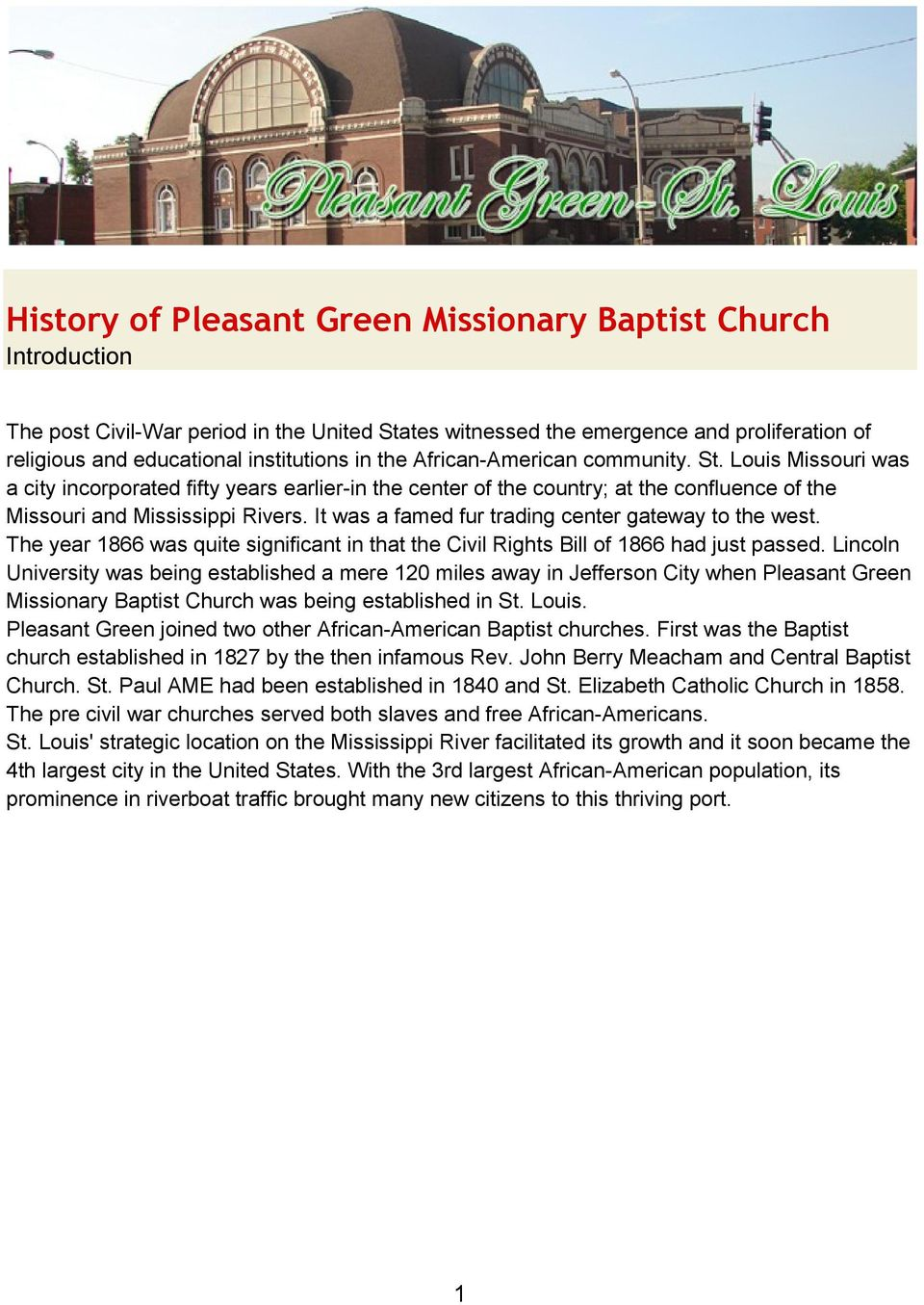 History of Pleasant Green Missionary Baptist Church Introduction - PDF