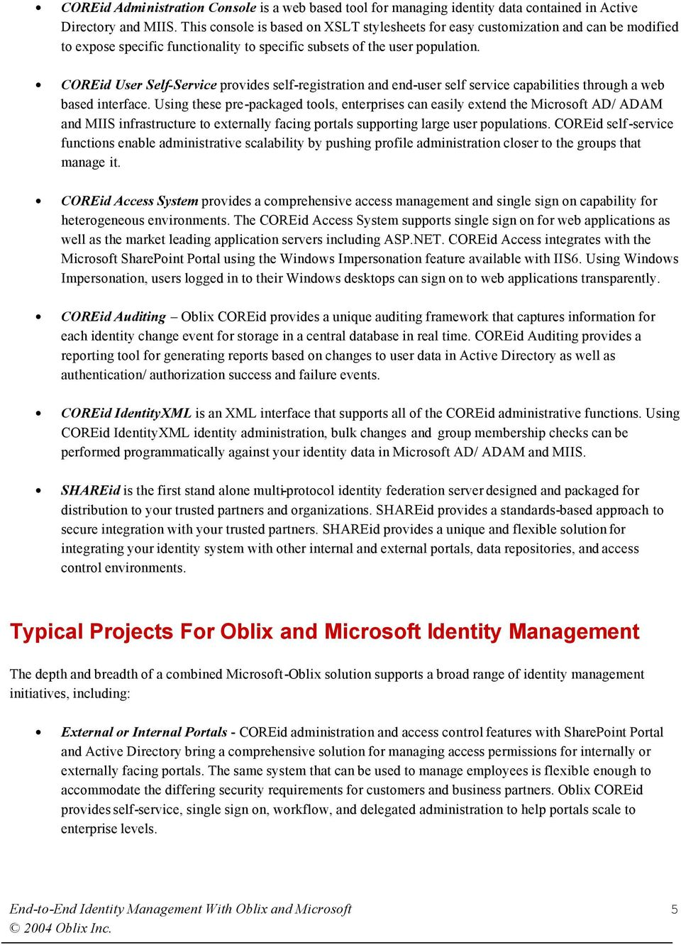 End-to-End Identity Management With Oblix and Microsoft