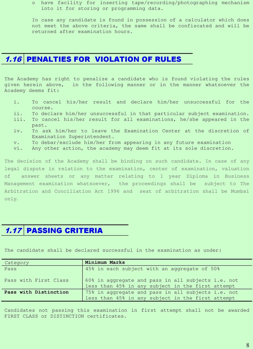 16 PENALTIES FOR VIOLATION OF RULES The Academy has right to penalize a candidate who is found violating the rules given herein above, in the following manner or in the manner whatsoever the Academy
