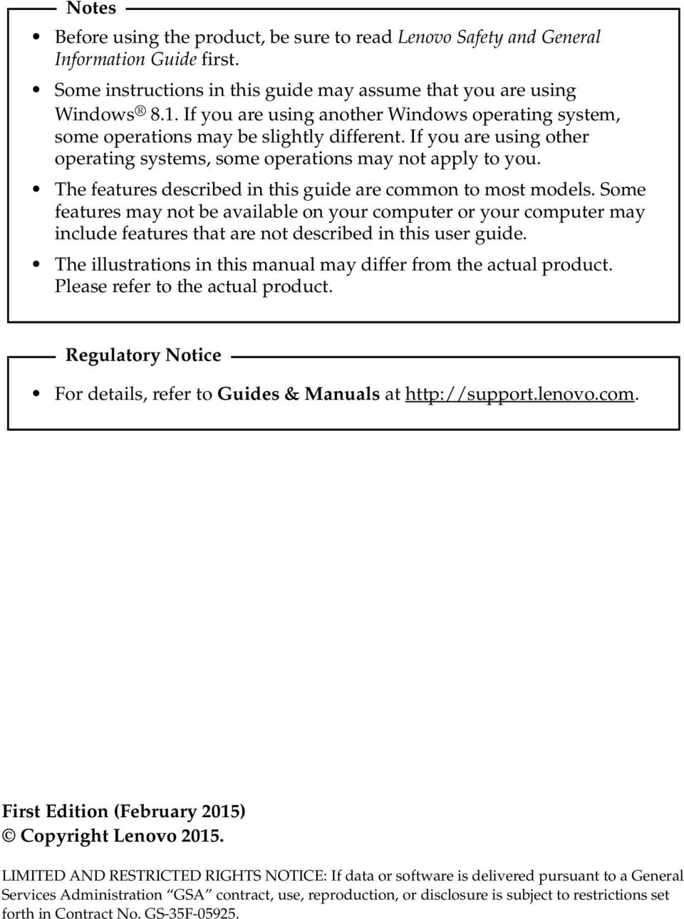 The features described in this guide are common to most models. Some features may not be available on your computer or your computer may include features that are not described in this user guide.