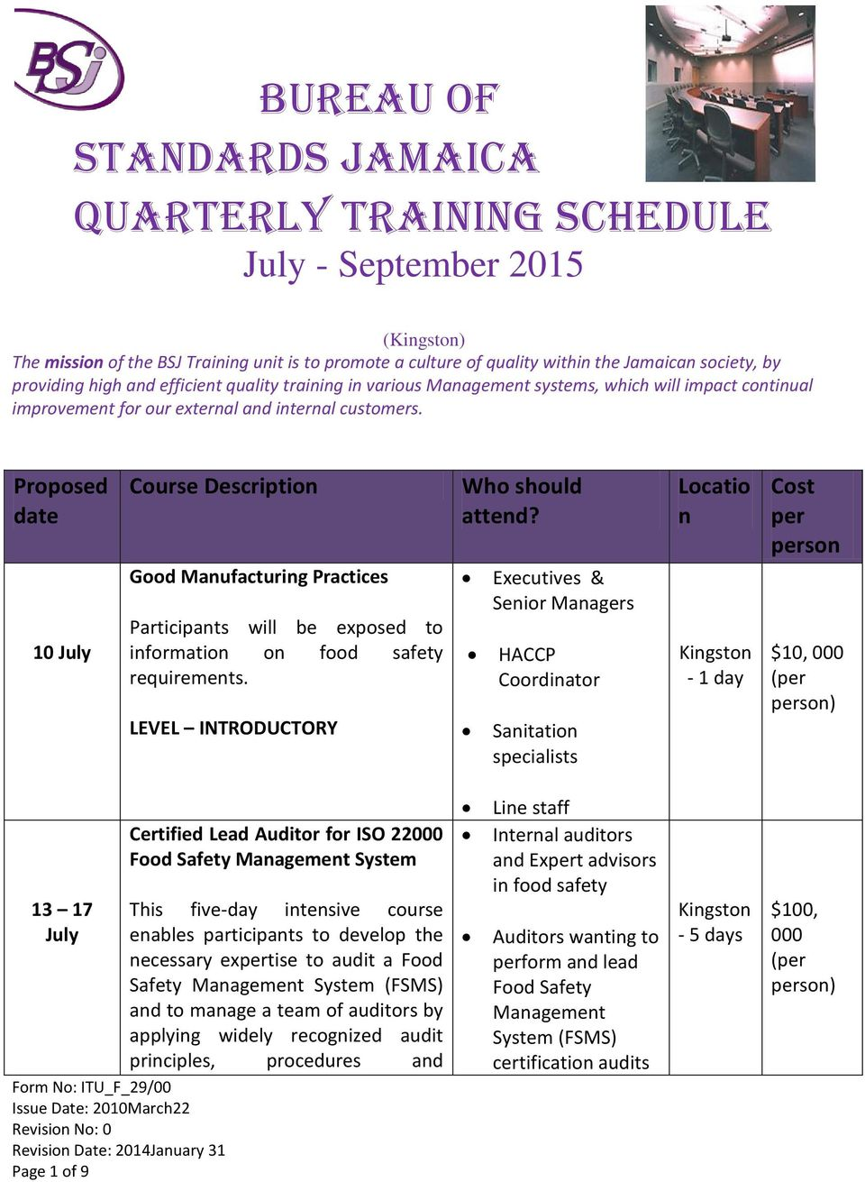Bureau Of Standards Jamaica Quarterly Training Schedule July