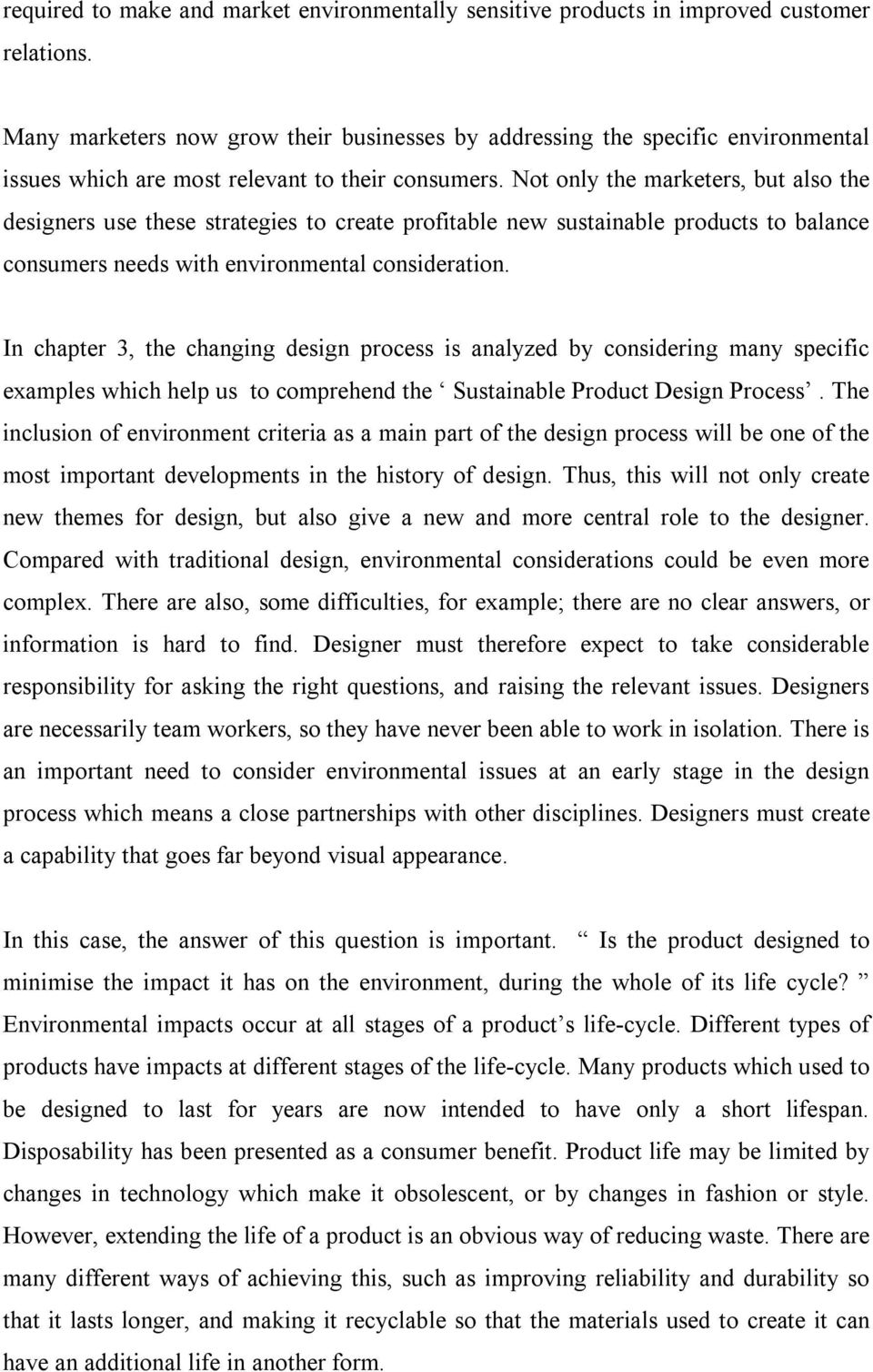 Sustainability and Environmental Issues in Industrial Product Design