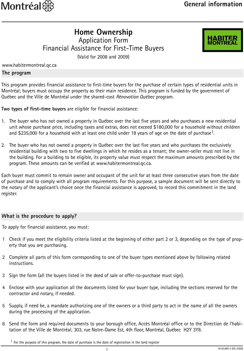 Home Ownership  Application Form Financial Assistance for