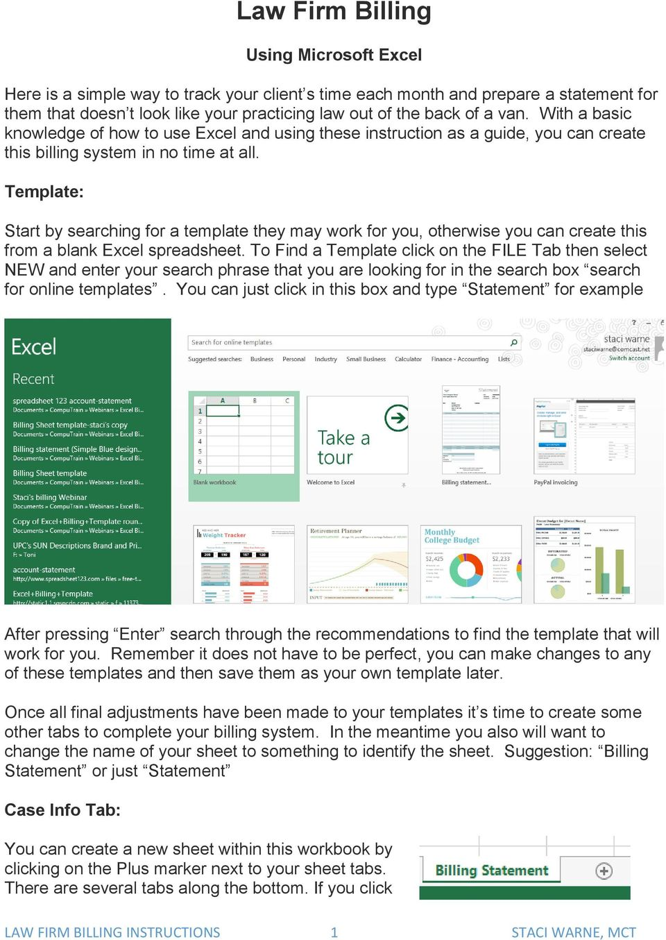 How to Use Excel for Law Firm Billing - PDF