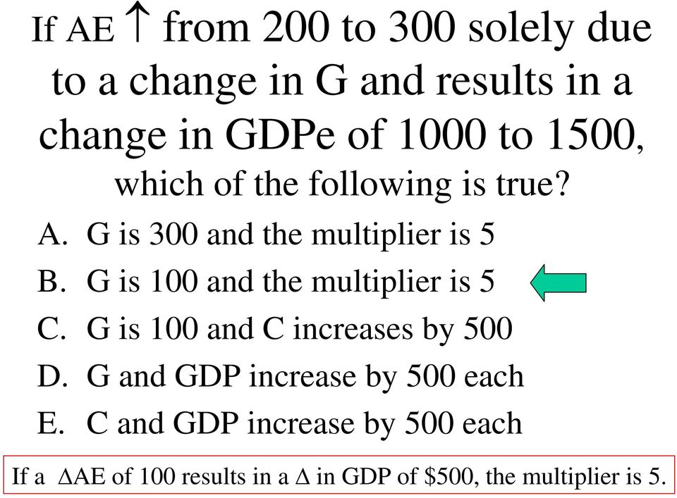 G is 100 and the multiplier is 5 C. G is 100 and C increases by 500 D.