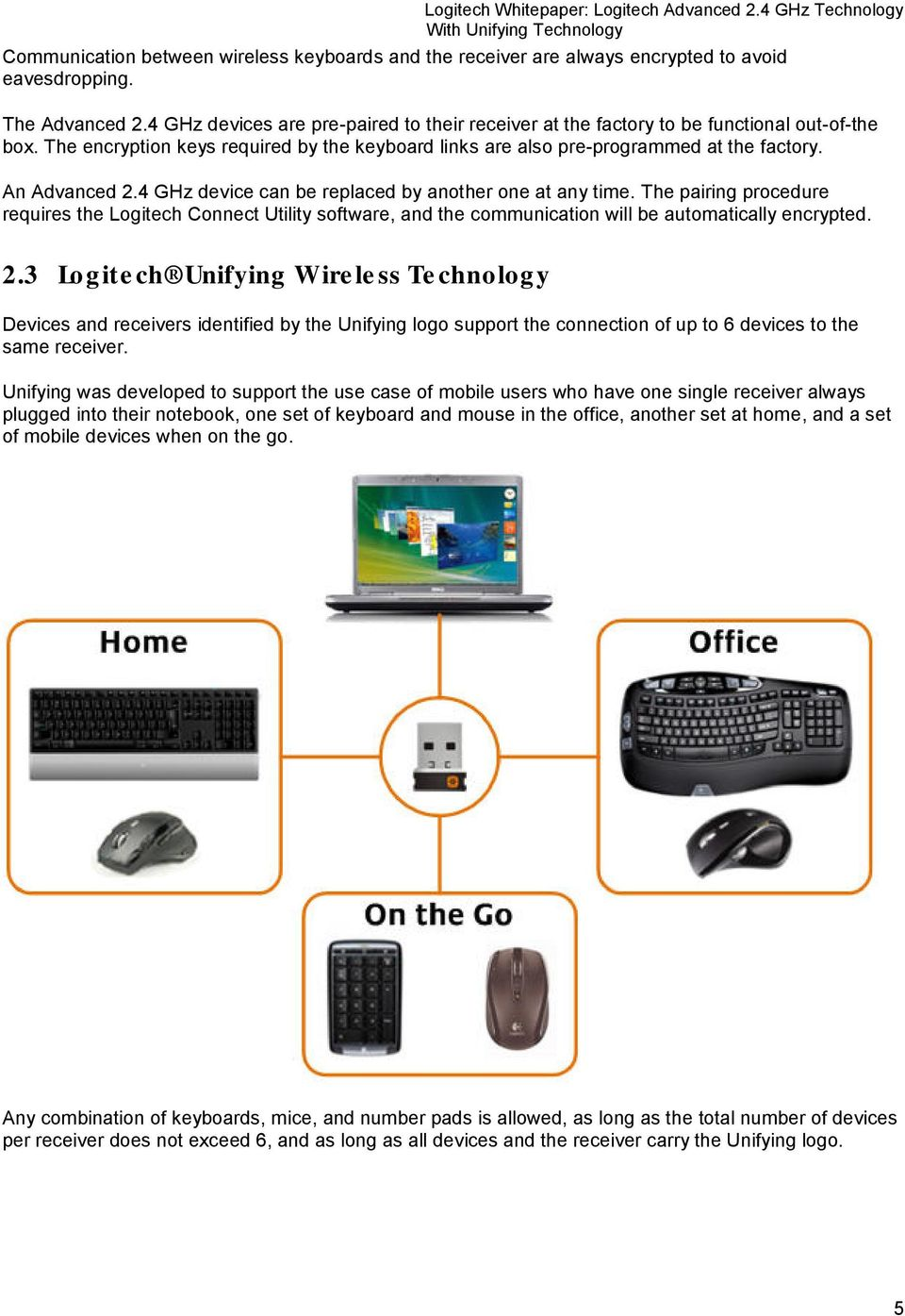 Logitech Advanced 2 4 GHz Technology With Unifying Technology - PDF