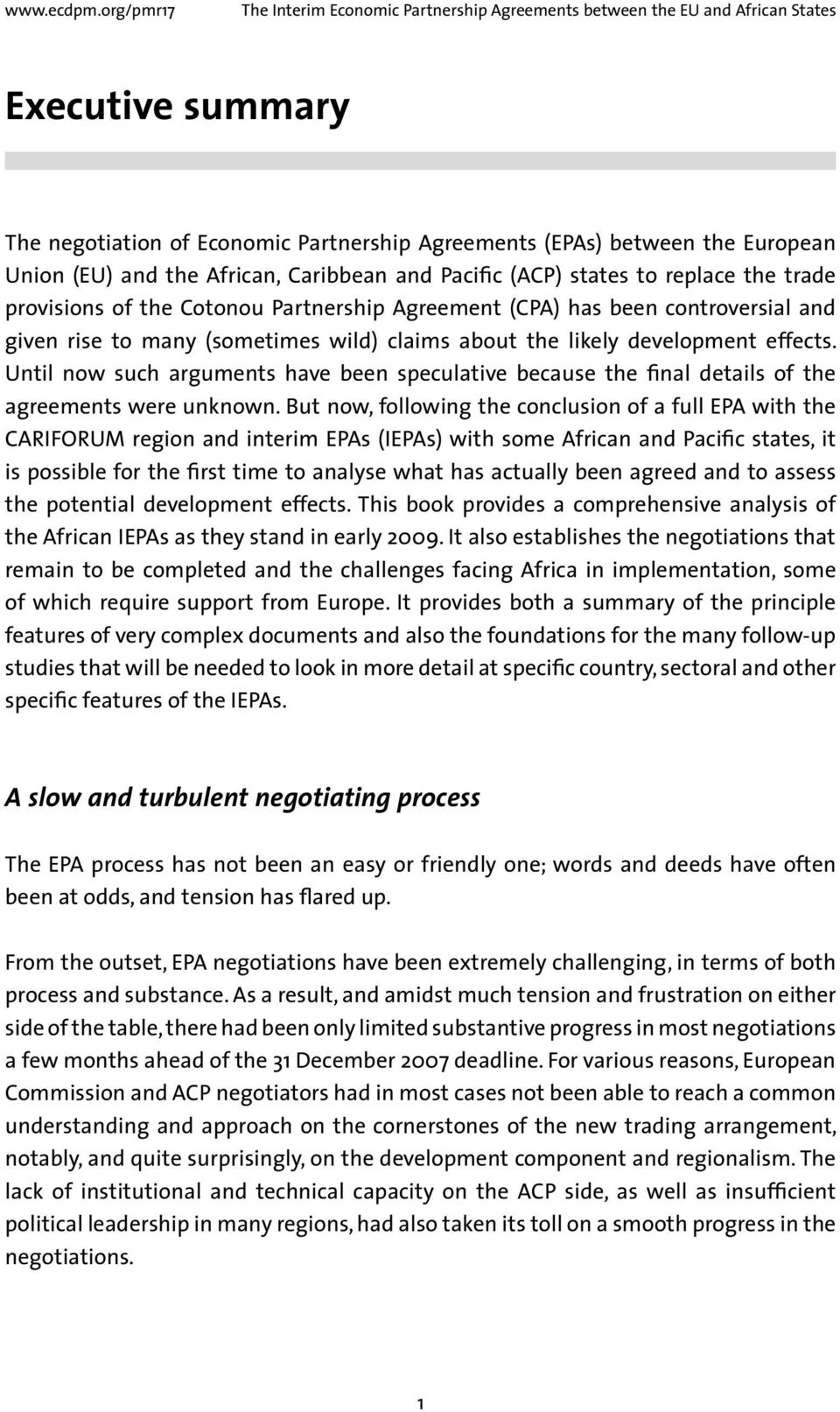 The Interim Economic Partnership Agreements Between The Eu And