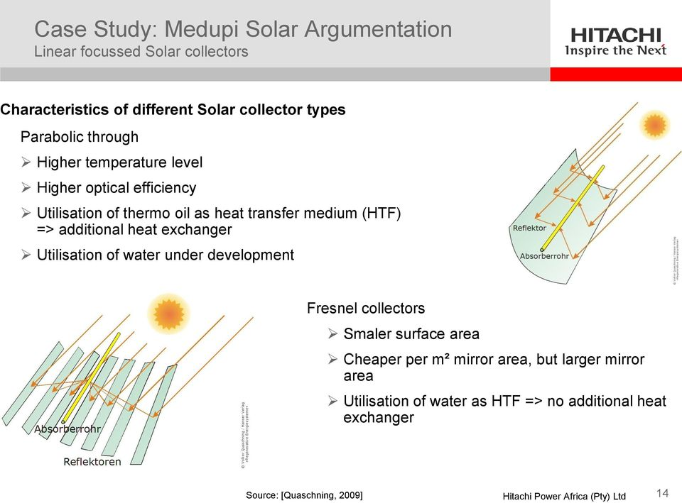 (HTF) => additional heat exchanger Utilisation of water under development Fresnel collectors Smaler surface area Cheaper