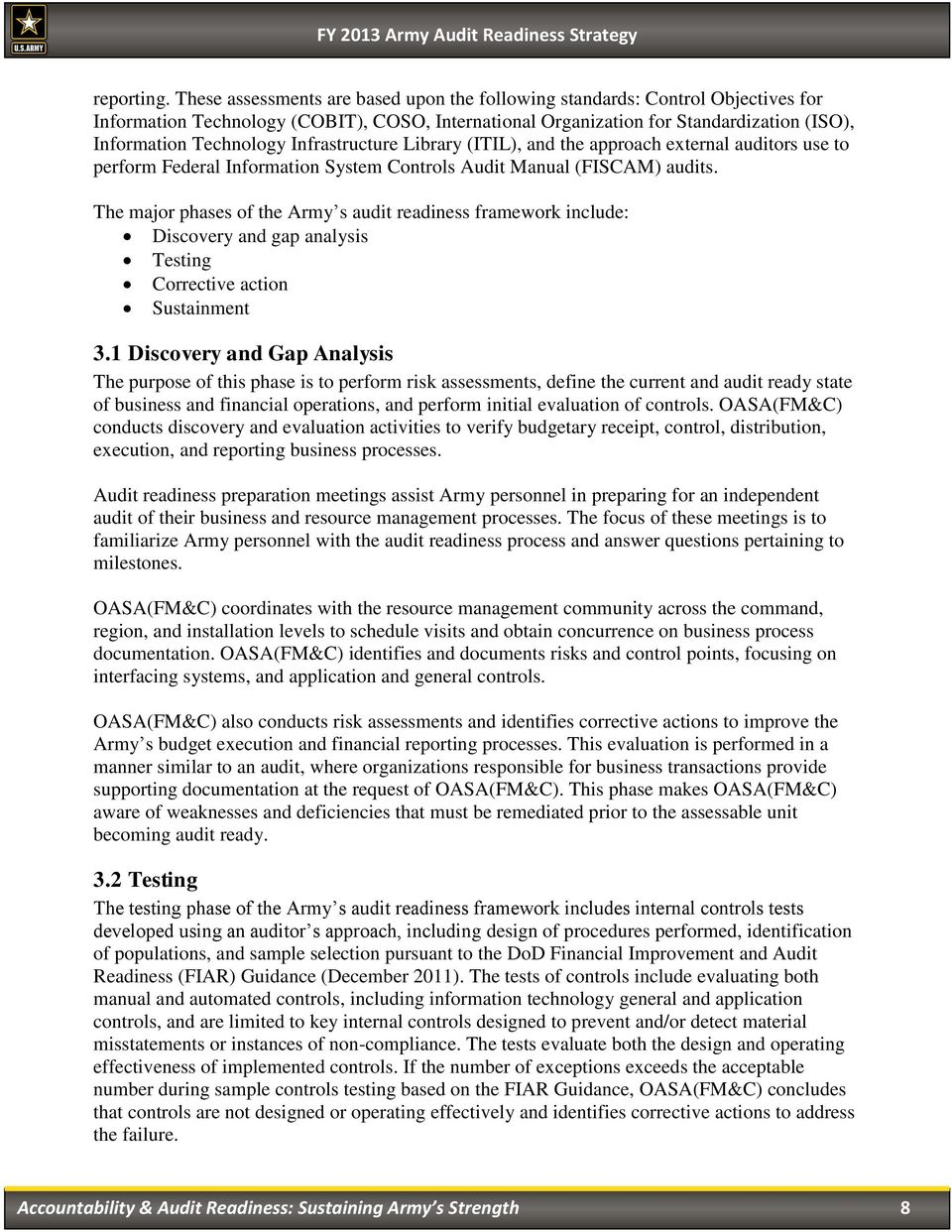 Army Audit Readiness Strategy FY PDF