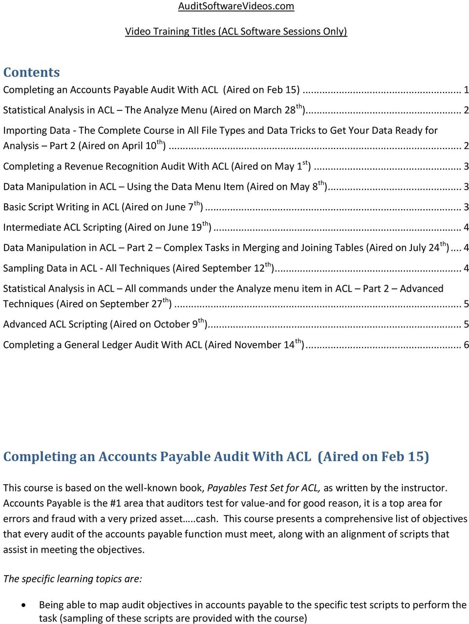 Completing an Accounts Payable Audit With ACL (Aired on Feb
