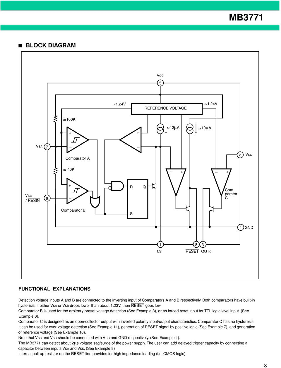Mb3771 Assp Power Supply Monitor Ds E Fujitsu Multi Output Circuit Design Using Uc3844 Both Comparators Have Built In Hysterisis If 4 Mb Recommended Operating Conditions Parameter Symbol Rating Unit Voltage