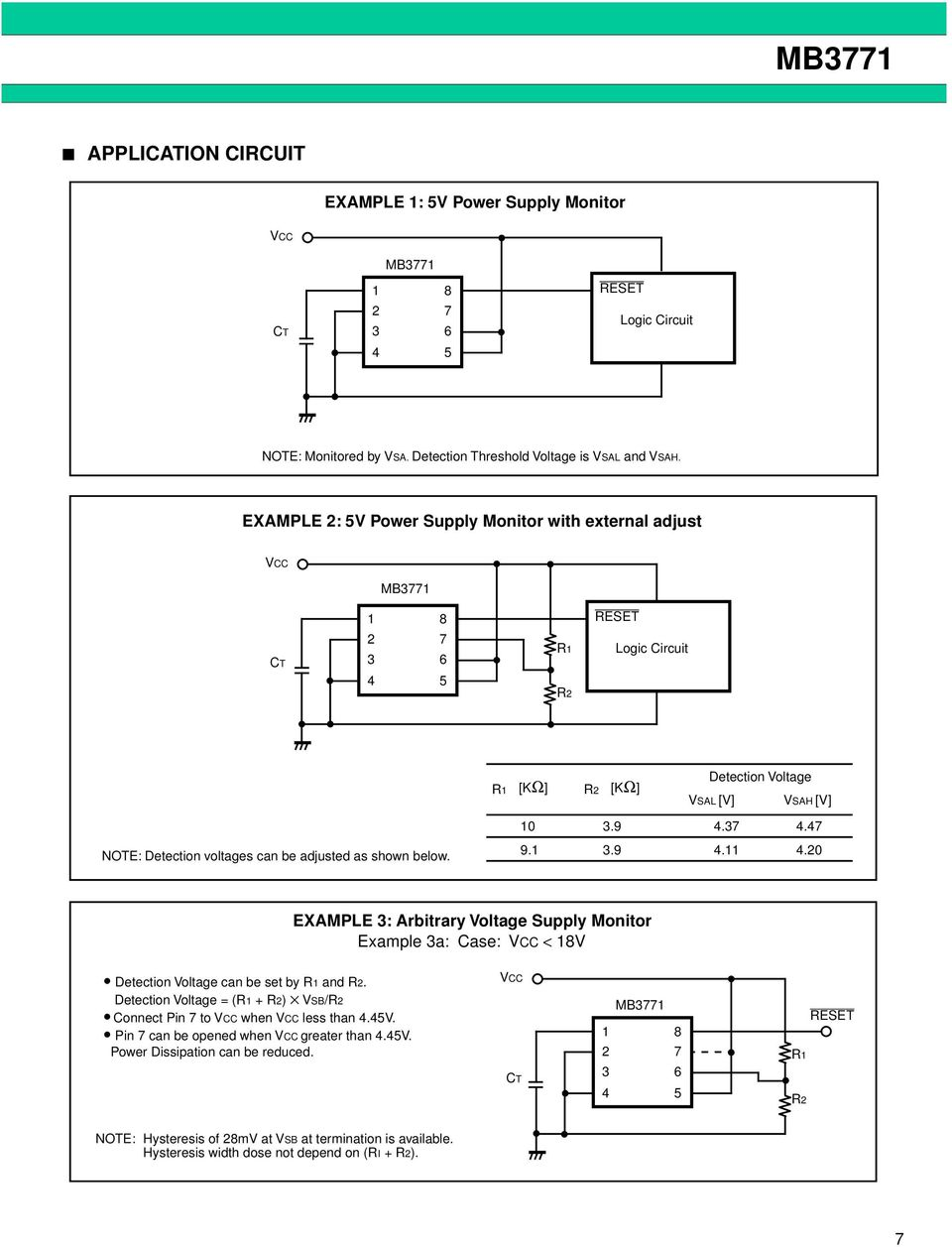 Mb3771 Assp Power Supply Monitor Ds E Fujitsu Multi Output Circuit Design Using Uc3844 Note Detection Voltages Can Be Adjusted As Shown Below 99 8 Mb Example Arbitrary Voltage