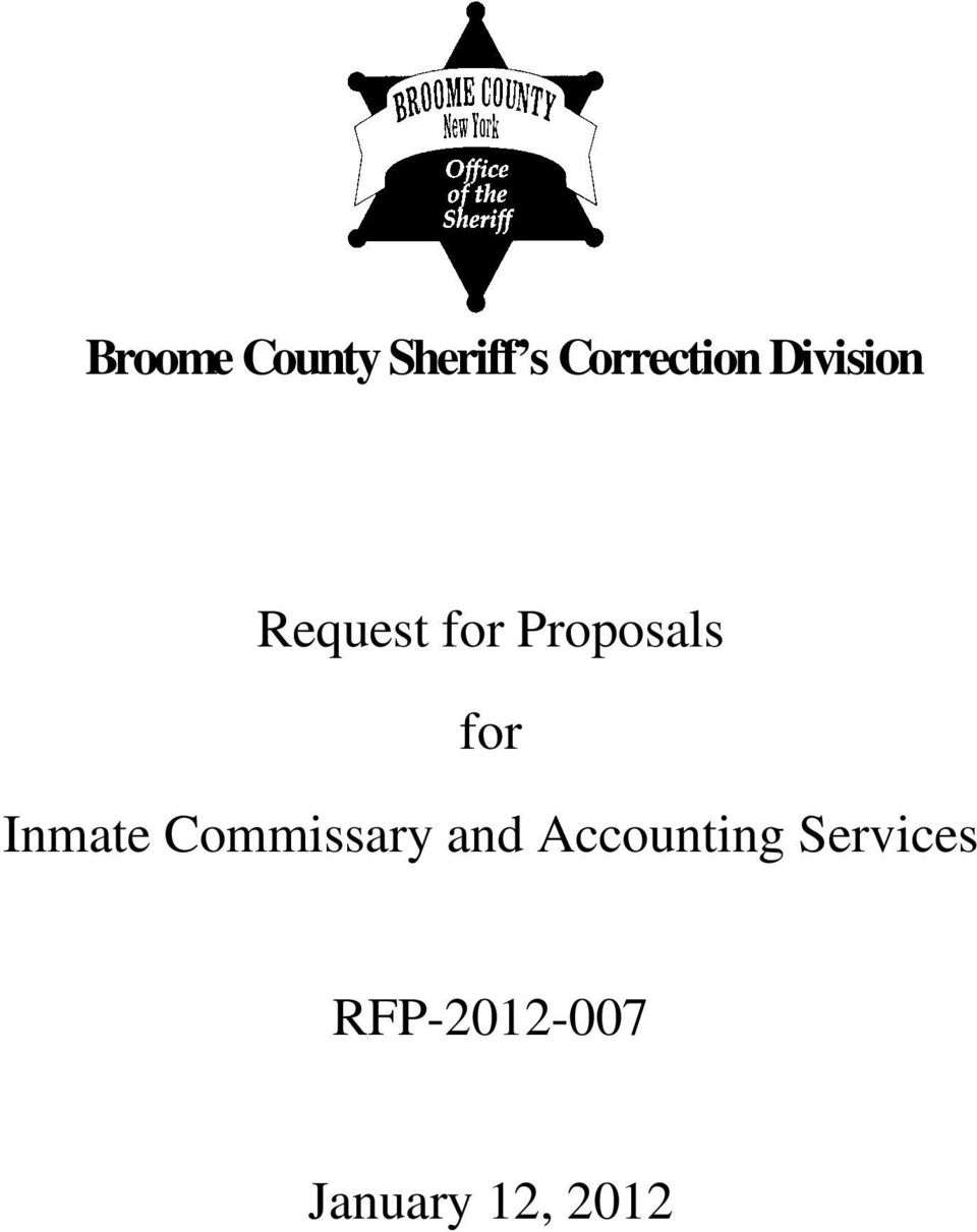 Broome County Sheriff s Correction Division  Request for