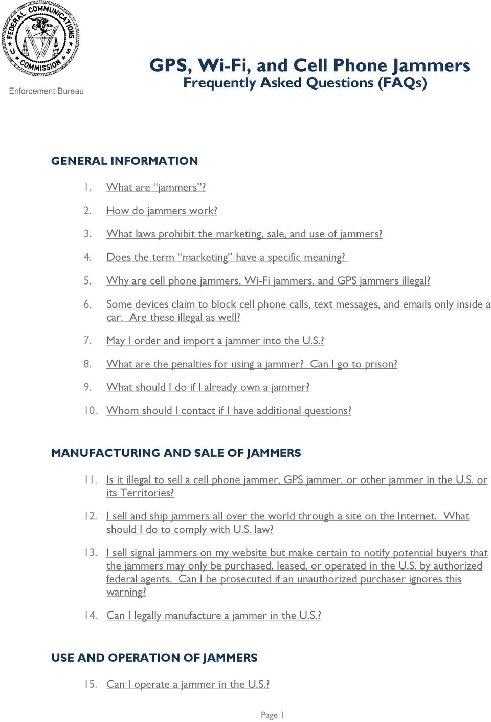 GPS, Wi-Fi, and Cell Phone Jammers Frequently Asked