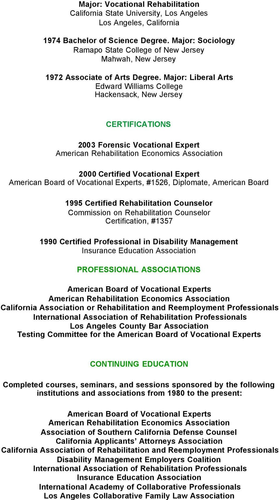 Curriculum Vitae About Susan D Green Ms Crc Abve Fve Pdf