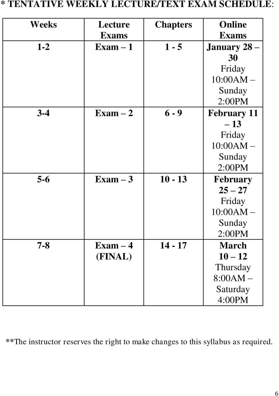 5-6 Exam 3 10-13 February 25 27 Friday 10:00AM Sunday 2:00PM 7-8 Exam 4 (FINAL) 14-17 March 10 12