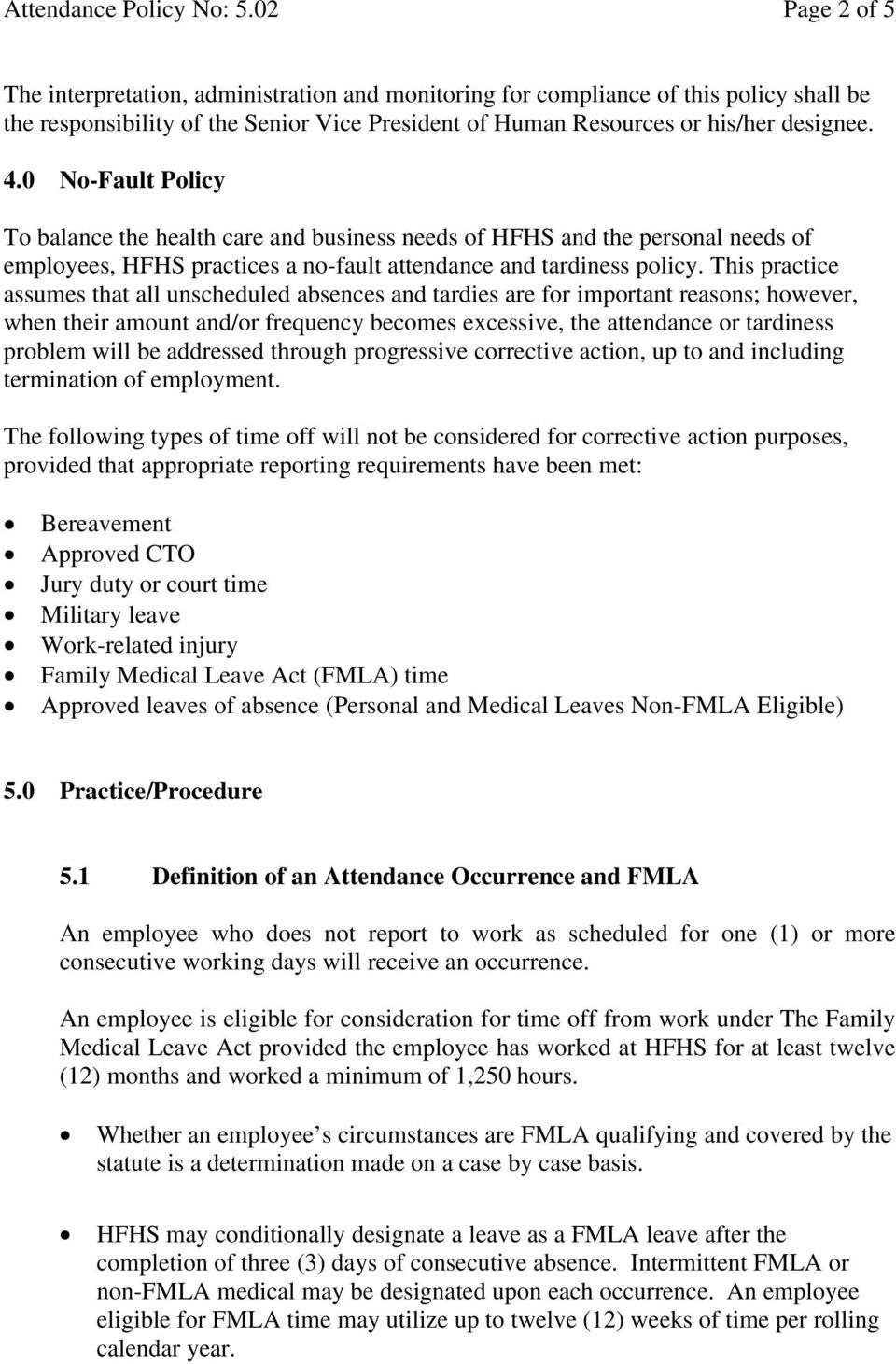 Attendance policy no 502 page 1 of 5 all existing corporate and 0 no fault policy to balance the health care and business needs of hfhs and altavistaventures Images